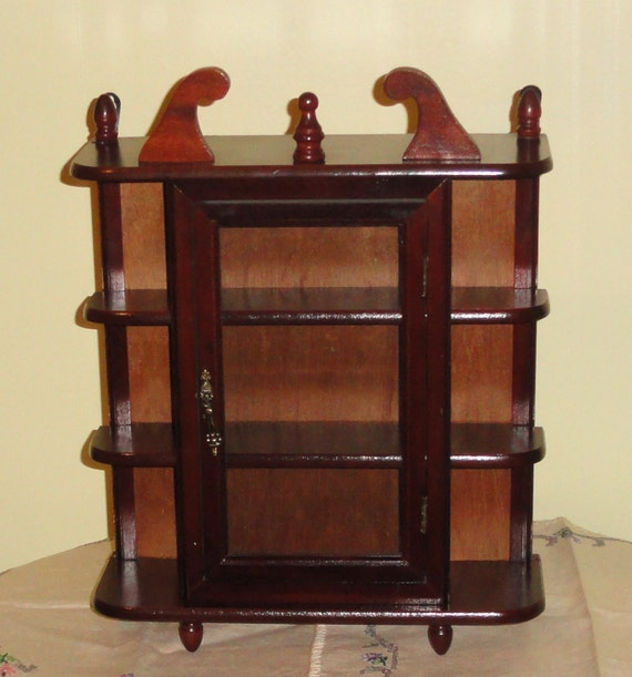 wooden wood glass curio whatknot collectibles mini. Black Bedroom Furniture Sets. Home Design Ideas
