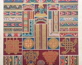 1877 L'Ornement Polychrome Decorative Antique Chromolithograph Gilt Middle Ages Decor Print RACINET