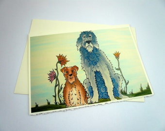 printed greeting card, colorful dog design, blank inside Ivory card with deckle edge, envelope included.