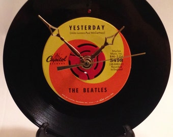 "Recycled BEATLES 7"" Record / Yesterday / Record Clock"