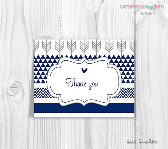 Baby Shower Thank You Cards For Baby Boy Printable Navy Blue And