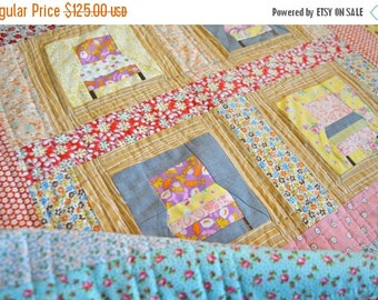 CHRISTMAS In JULY SALE Small Quilt - Play mat - Quilted Wall Hanging - Gender Neutral Quilt