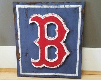 Vintage-style Boston Redsox Sign - rustic sports decor