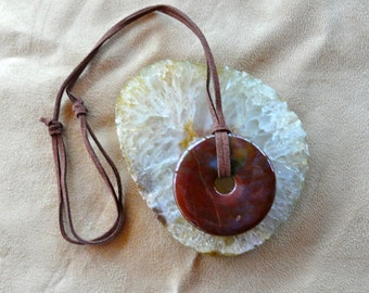 Men's Brecciated Jasper Go Go Donut Pendant on Suede Cord