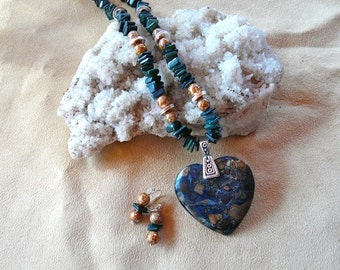 20 Inch Teal and Brown Sea Sediment or Imperial Jasper Heart Pendant Necklace with Earrings