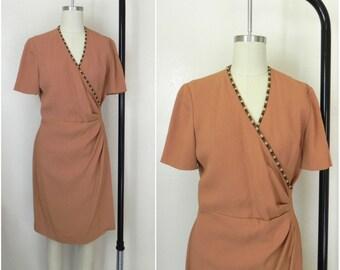1970 Vintage Hippie Beige Vneck Ruche Dress