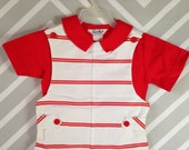 vintage deadstock two piece boys striped ted and white top and shortall set by goodlad tag size 3T nos