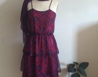 Vintage 70s Tier Summer Chiffon Geometric Dress XS/S