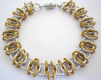 Bracelet Gold Ribbon Aluminum Chainmaille Bangle