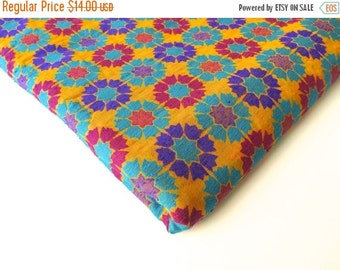 ON SALE Colorful Red yellow blue graphic flowers India silk brocade fabric nr 165 fat quarter