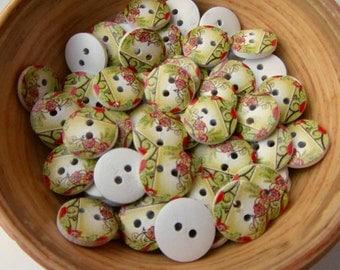 Green wood 11 mm wooden buttons  set of ten buttons nr. 80