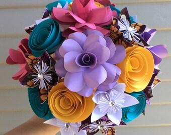 Paper flower bouquet, kusudama, rose, bridal, rainbow colors, wedding decor, birthday flowers, get well soon gift