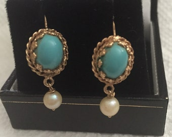 PRICE REDUCED Gorgeous Antique 14k Gold, Persian Turquoise and Pearl Earrings for Pierced Ears