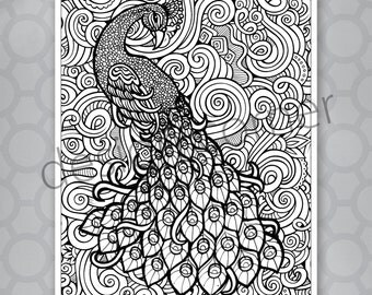 INSTANT DOWNLOAD Exotic Zentangle Peacock Coloring Page