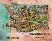 199 Kid's map of Washington 11x14  vintage historic antique map poster print