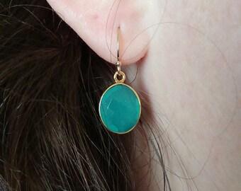 Aqua chalcedony earrings - Gold filled earrings - Chalcedony earrings - Dangle earrings - Bridesmaids earrings - Everyday jewelry