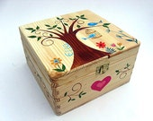 X Large childrens memory box Personalised keepsake box Handpainted wooden box Funky Forest tree and bird cage design