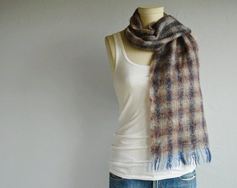 Vintage Mohair Plaid Scarf / 1970s Scottish Mohair Wool Plaid Wool Scarf / Made in Scotland Cream Brown Blue