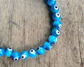 8mm 21pcs Evil Eye Beads, Light Blue Beads, Blue Evil Eye, Blue Eyes, Eye Beads, Bracelet Beads, Necklace Beads, Jewelry Making, Jewelry DIY