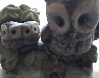 Momma Owl w/Baby Owls Porcelain Figurine