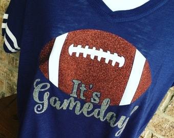 V- Neck It's Gameday Glitter Football T-Shirt, FRONT ONLY, Football Shirt, Football Mom, Football Mom Tee, Gameday Shirt
