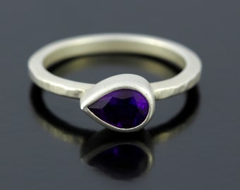 Pear Shape Amethyst Ring. Rich Purple Amethyst Teardrop Ring in Silver. Hammered Finish Silver February Birthstone Ring - CS1504
