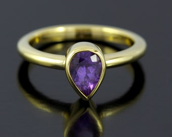Teardrop Amethyst Ring. Teardrop Promise Ring in Gold Plated, Sterling Silver. Pear Shaped Amethyst February Birthstone Ring - CS1503