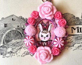 Bunny Hand Painted Necklace