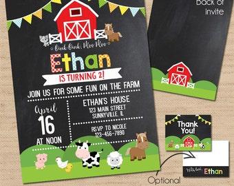 Barnyard Birthday Invitation, Farm Birthday Invitation, Barn Birthday Invitation, Thank You Cards