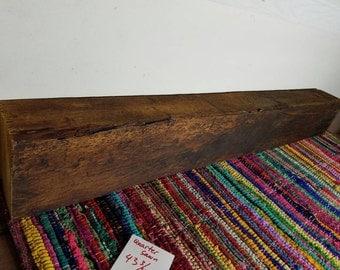 Recalimed Vintage Barnwood Beam 43 3/4 Inches Long Fireplace Mantle Reclaimed Wood Shelf Rustic Decor