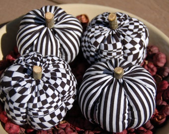 Primitive Fall Halloween Black & White Checkered and Striped Pumpkin Ornies