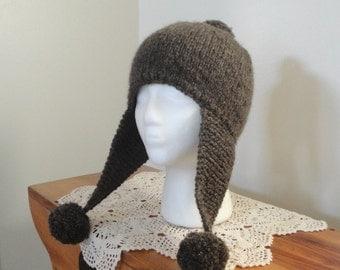 Earflap Hat with Pom Poms, Knitting Pattern, Aviator Hat, Worsted Yarn, Child Teens Women Men