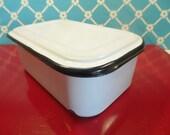 White Enamel Refrigerator Box With Lid - Black Trim