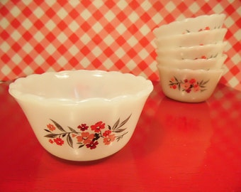 Fire King Custard Cups Primrose Set Of 6 Anchor Hocking Vintage 1960s