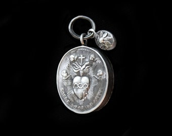 Fabulous Victorian Silver French Reliquary Of Radiant Sacred Heart w Angels, Jesus on the Cross & the Tiniest Solid Silver Flower Charm