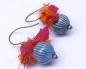 40% OFF SALE Torch Fired Enamel Bead & Sari Silk Earrings . by Lori Davidson