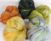 Fiber Batts- Gourds -(4.1 oz.) 35% Dorset Down fleece, merino, silk, bamboo, alpaca, faux cashmere,silk noil