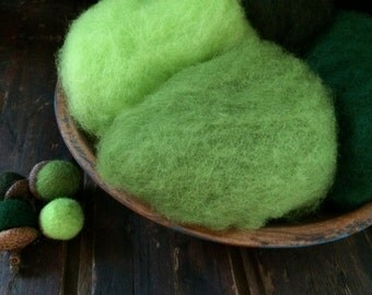 Needle Felting Wool - Green with Envy Wool Sampler-Wet Felting Wool