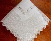 Vintage Hankie Handkerchief Handmade Lace Off White Hand Wedding Sheer Antique