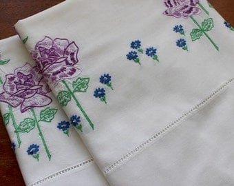 Vintage Pillowcases Pair Cotton White Hand Embroidered Pillow Cases Purple Yellow Flowers