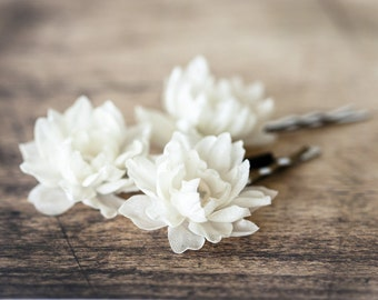 717_Small ivory flowers hair pins, Wedding hair pin, Flowers hair accessory, Wedding flower pin, Hair pins silk flowers, Silk hair accessory