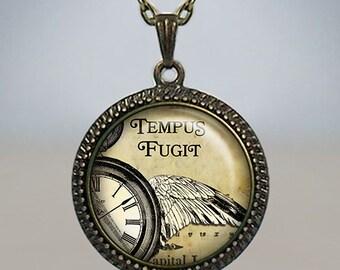 Tempus Fugit pendant, Time Flies necklace Tempus Fugit necklace Latin quote necklace quote pendant quote jewelry quote jewellery