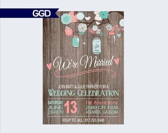 Boho Chic Wedding Reception Invitation with Mason Jar, Mason Jar invite, Reception Only Invitation, printable invitation