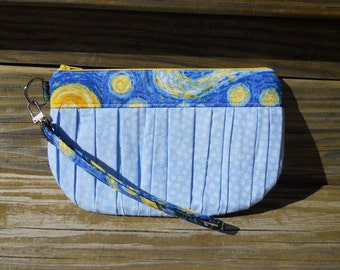 Wristlet, Starry Night Clutch, Ruched Clutch, Van Gogh Clutch, One of a Kind