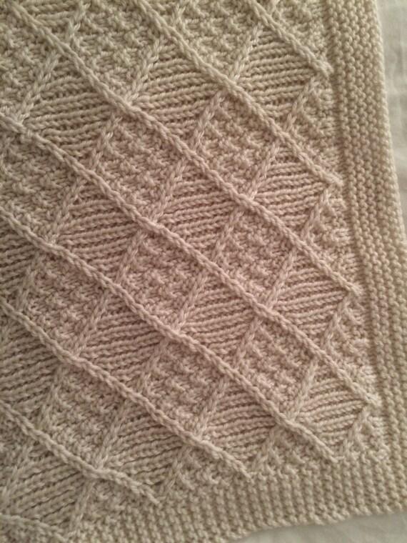 Diamond Checks Blanket Knitting Pattern Baby PDF Pram