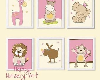 Girl Nursery art decor, Pink Yellow Safari animals Nursery Art, Posters of Animals for the Nursery, Baby Nursery Decoration Prints Elephant