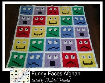 C2C Graph, Funny Faces Afghan, C2C Graph, & Word Chart