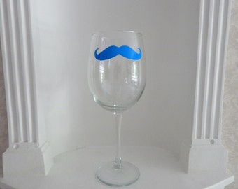 Mustache Wine Glass, Blue  Mustache Glass, Mens Gifts , Housewares, Glassware, Home & Living, Wine Glasses, Christmas Gifts, Holidays