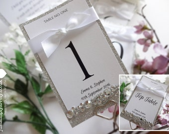 Glitter Sparkle Wedding Table Name Cards