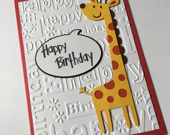 Giraffe Birthday Card **READY TO SHIP**